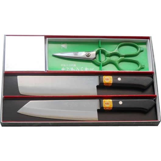 三木刃物 ステンレスDPゴールド誠光作包丁 2本+キッチンハサミ ギフトセット GS103