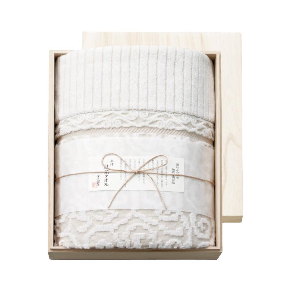 今治謹製 紋織タオル タオルケット(ベージュ) 木箱入り IM8038 1089-095