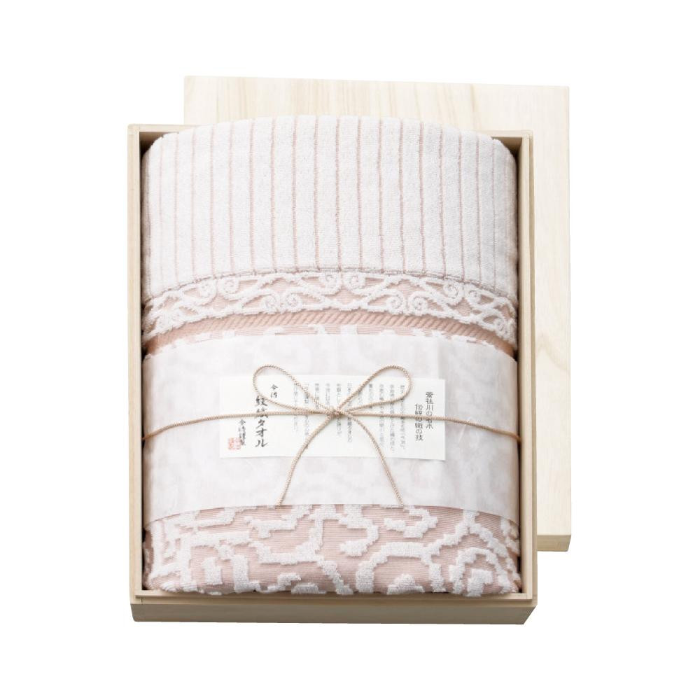 今治謹製 紋織タオル タオルケット(ピンク) 木箱入り IM8038 1089-104