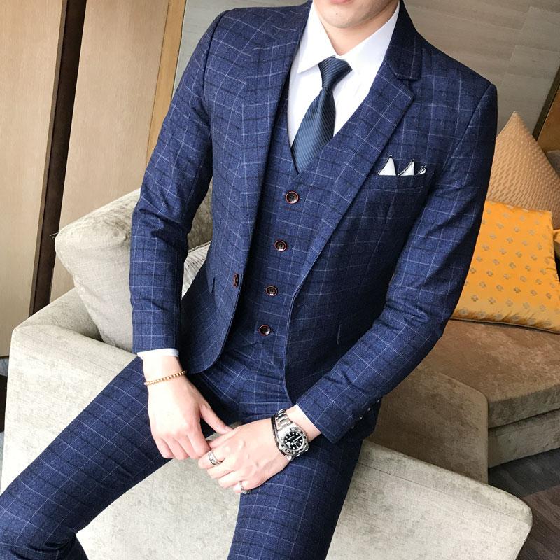 スーツ メンズ おしゃれ オシャレ ビジネス スリーピース 3点セット フォーマル 結婚式 チェック カジュアルスーツ 細身 通勤 かっこいい 2194