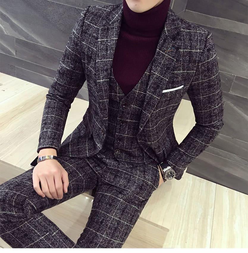 スーツ メンズ おしゃれ 結婚式 2次会 ビジネス スリーピース 細身 タイト 大きいサイズ フォーマル カジュアルスーツ リクルート かっこいい 3242