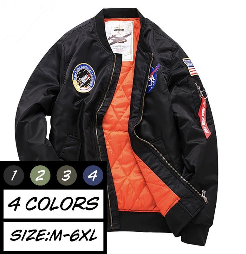 中綿ジャケット メンズ MA-1 フライトジャケット ワッペン付き ブルゾン MA1 アウター ミリタリージャケット ジャンパー おしゃれ 高校生 学生 10代 20代 黒 ブラック 2474