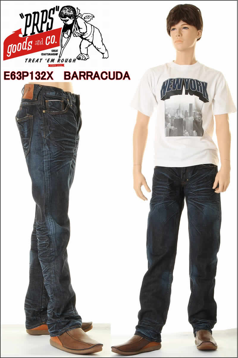 梭鱼梭鱼常规适合直原始按钮飞 E59P33X 深静脉血栓形成,深老式 EMERGER 吉恩 PRPS 贝克汉姆最喜欢的牛仔裤 PRPS 牛仔裤