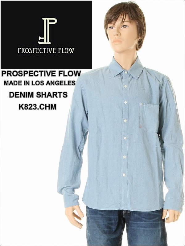 前瞻性流前瞻性 Flo 牛仔衬衫 K823。 Chm (英语) 洛杉矶牛仔布靛蓝 workshirt 衬衫男装