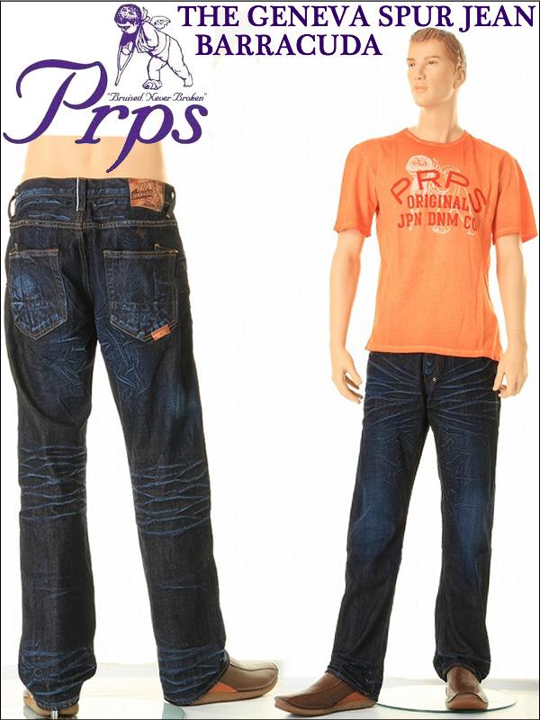 THE GENEVA SPUR JEAN BARRACUDAバラクーダジーンズルーズフィットストレートオリジナルボタンフライLOT E57P606X(YAW/1YEAR WASH)PRPS Beckham爱用牛仔裤粗斜纹布牛仔裤