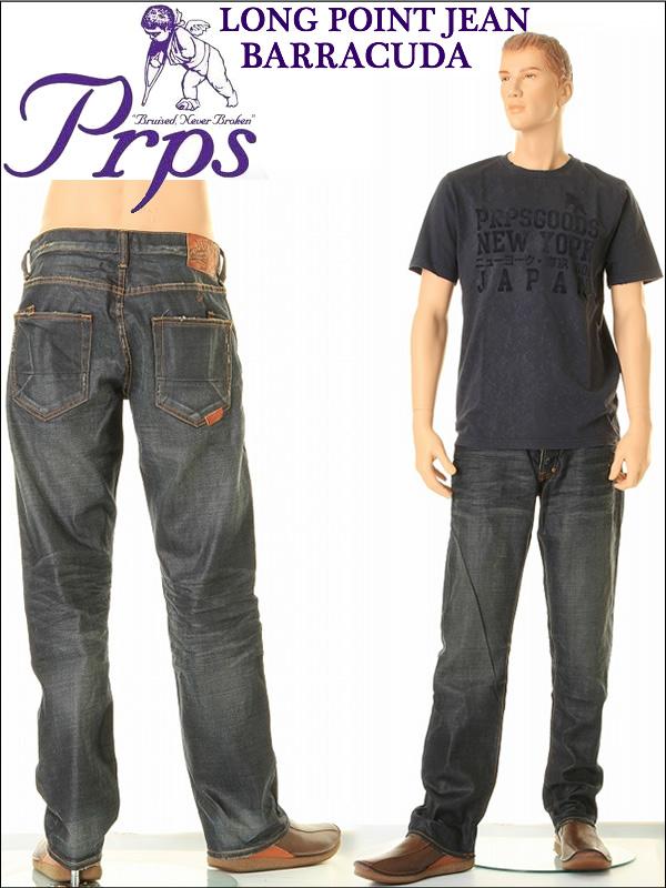LONG POINT JEAN BARRACUDAバラクーダジーンズルーズフィットストレートオリジナルボタンフライイLOT E57P50NX(BLU/BLU WASH)PRPS Beckham爱用牛仔裤粗斜纹布牛仔裤
