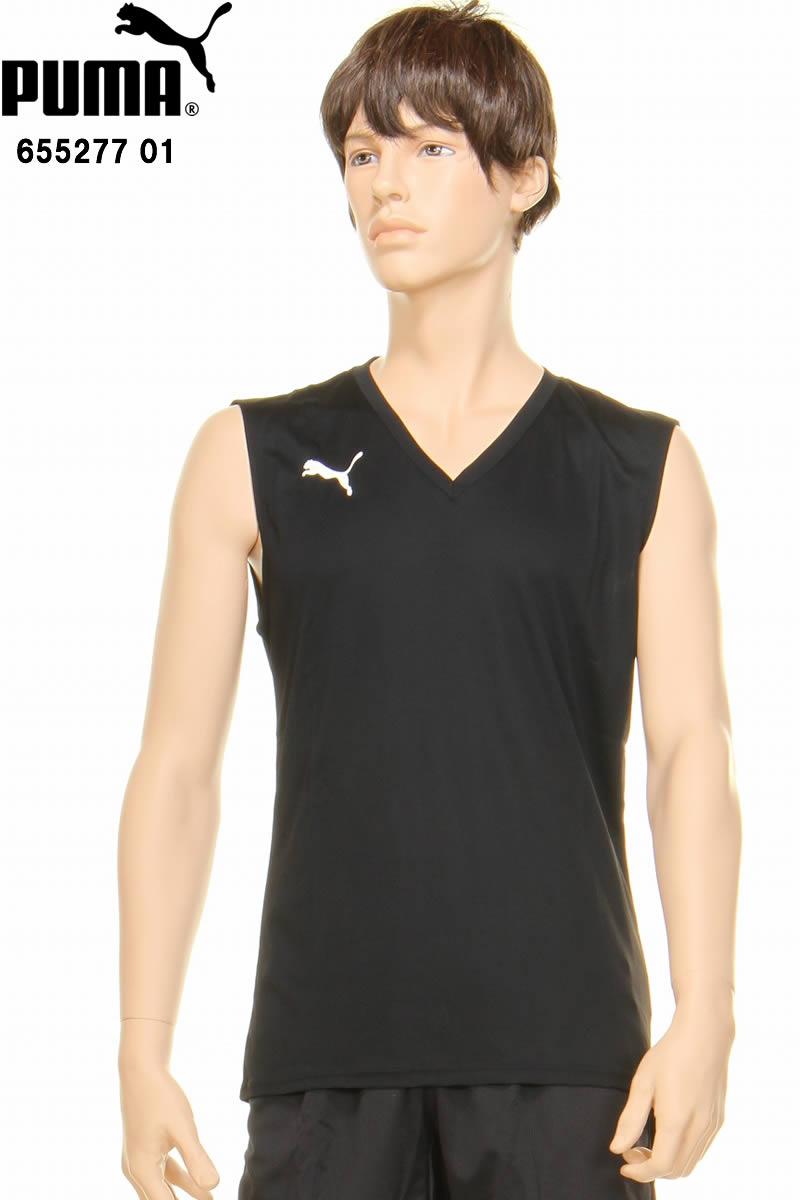 62dc3e39342 Arrival at PUMA Puma 655277 01 no sleeve shirt black inner shirt inner SL  inner shirt padded vest soccer futsal exercise