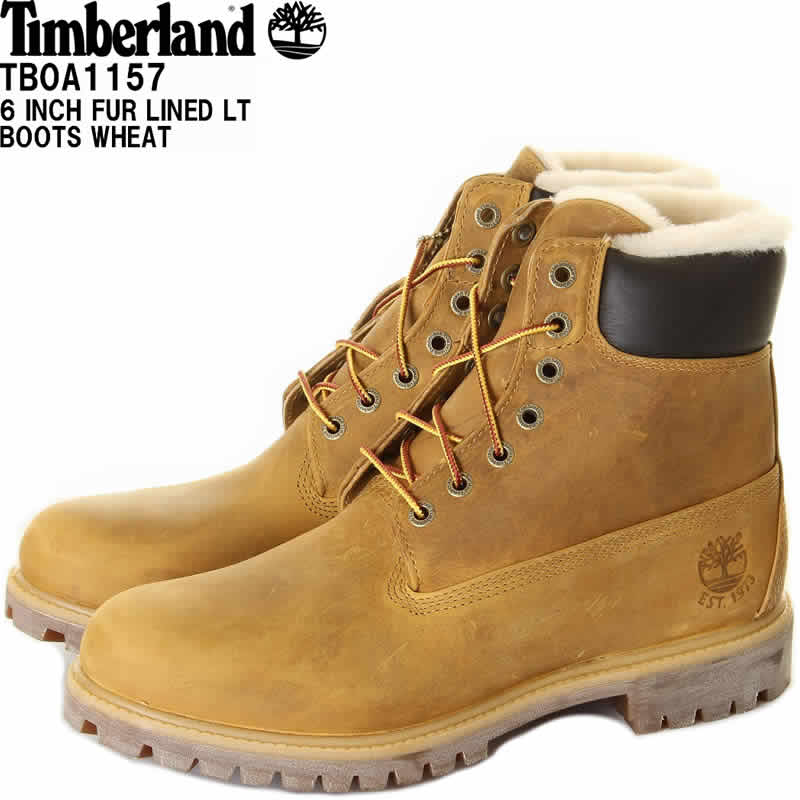 4554b1f8fe8 Timberland Timberland TB0A1157 6INCH FUR LINED LT BRN NB BOOTS 6 inch fur  lined boots wheat mens boots