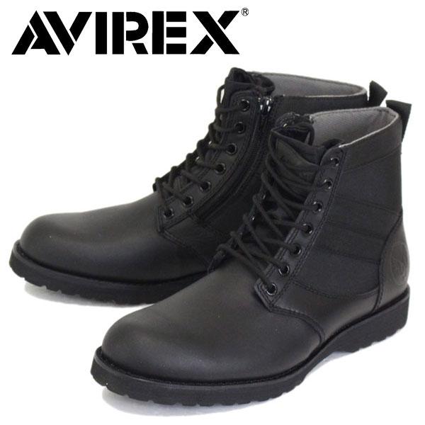 正規取扱店 AVIREX U.S.A.(アビレックス) AV2005 VANGUARD ヴァンガード サイドジップブーツ BLACK