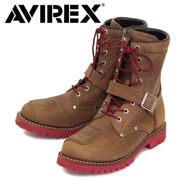 正規取扱店 AVIREX (アヴィレックス) LIMITED 限定 AV2100 YAMATO ヤマト 8ホール バイカー レザーブーツ CRAZY HORSE / RED