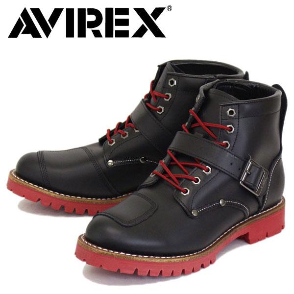 正規取扱店 AVIREX U.S.A.(アビレックス) AV2931 TIGER タイガー バイカースタイルミッドブーツ BLACK/VARSITY RED