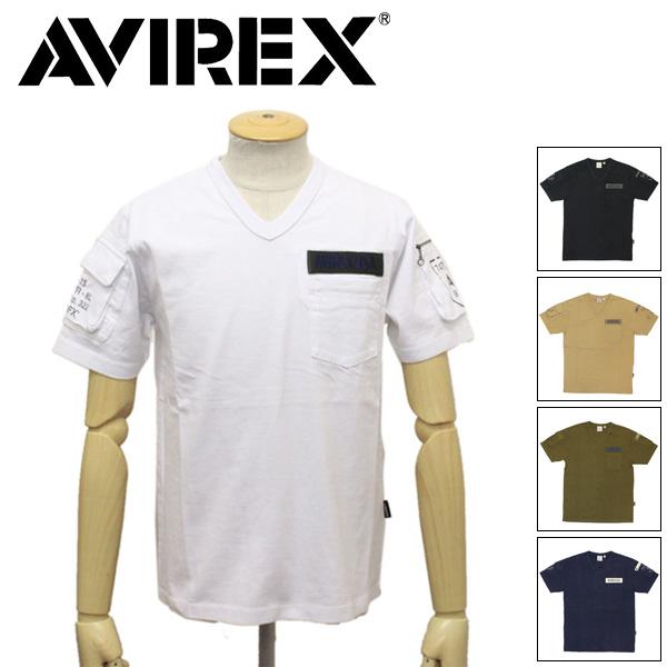 正規取扱店 AVIREX (アヴィレックス) 6143386 V-NECK FATIGUE T-SHIRT Vネック ファティーグ 半袖 Tシャツ 全5色