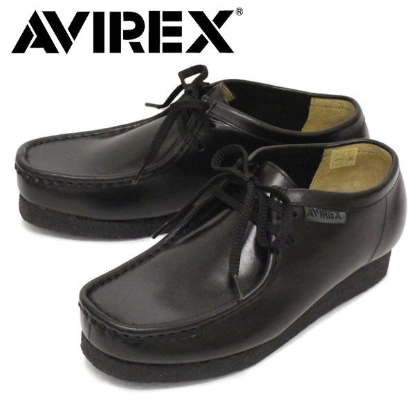 正規取扱店 AVIREX (アヴィレックス) AV6510 MADISON 2ホール マディソン ワラビー レザーブーツ BLACK