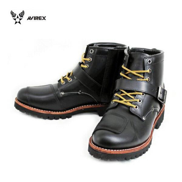 正規取扱店 AVIREX U.S.A.(アビレックス) AV2931 TIGER(タイガー) バイカースタイルミッドブーツ BLACK ブラック