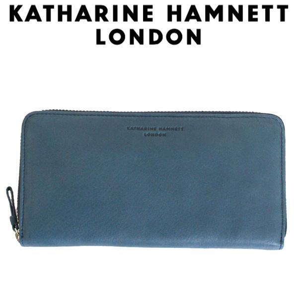 正規取扱店 KATHARINE HAMNETT LONDON (キャサリンハムネット ロンドン) 490-57007 Soft ラウンドファスナー 束入れ ロングウォレット 32 ブルー