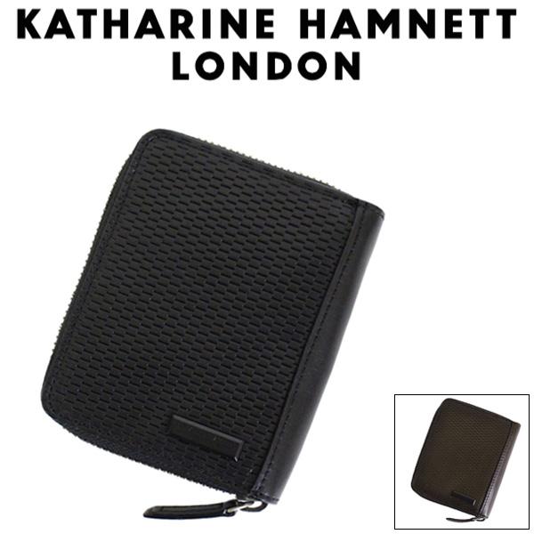 正規取扱店 KATHARINE HAMNETT LONDON (キャサリンハムネット ロンドン) 490-58002 Mesh ラウンドファスナーBOX 二つ折りウォレット 全2色