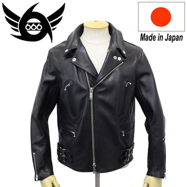 正規取扱店 666 LJM-1TF TIGHT FIT U.K.SIDE BELT LEATHER JACKET (タイトフィット サイドベルト レザージャケット) 日本製 BLACK