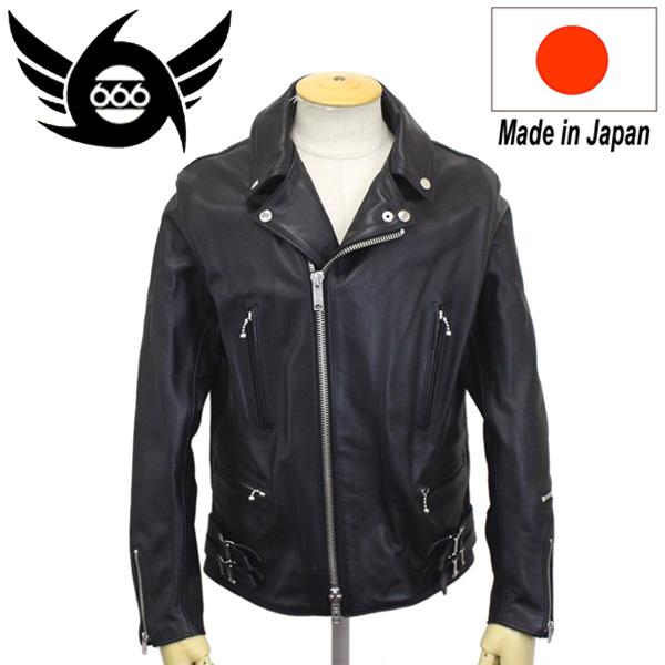 正規取扱店 666 LEATHER WEAR LJM-1TFL タイトフィット U.K. サイドベルト ライダースジャケット-ロング- 日本製 BLACK