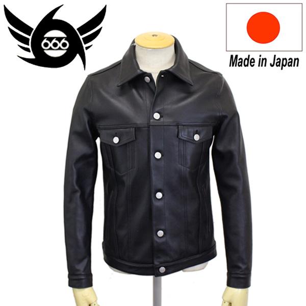 正規取扱店 666 LEATHER WEAR LJM-19 シープスキン レザージーンジャケット 日本製 BLACK