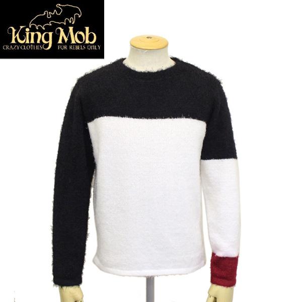 正規取扱店 KING MOB (キングモブ) KM PILE SWEATER パイルセーター ブラック/ホワイト/レッド KMK012