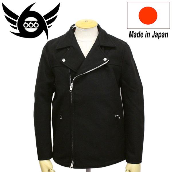 正規取扱店 666 ORIGINAL ライダースタイプピーコート ブラック SOJ0012