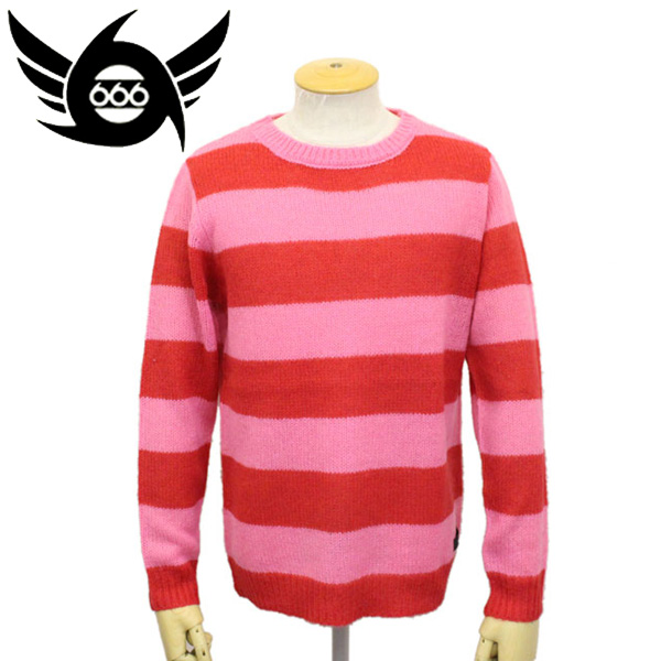 正規取扱店 666 ORIGINAL モヘアセーター レッド/ピンク ボーダー SOM0001