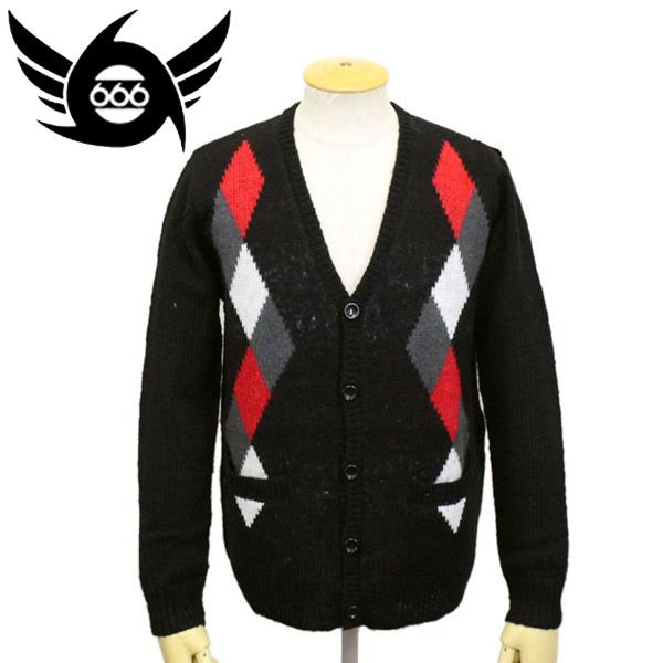 正規取扱店 666 ORIGINAL モヘアアーガイルカーディガン ブラック/レッド/グレー/ホワイト SOM0003