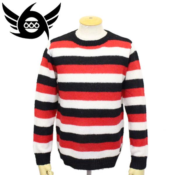 正規取扱店 666 ORIGINAL モヘアセーター ブラック/レッド/ホワイト ボーダー SOM0004