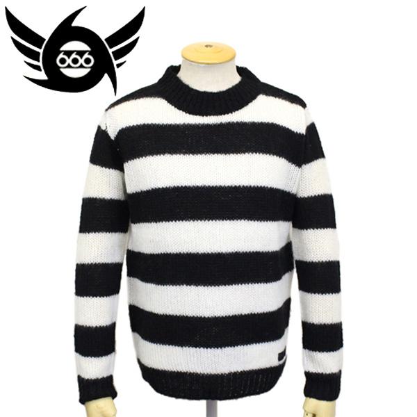 正規取扱店 666 ORIGINAL MOHAIR SWEATER モヘアセーター ブラック/ホワイト ボーダー SOM0001