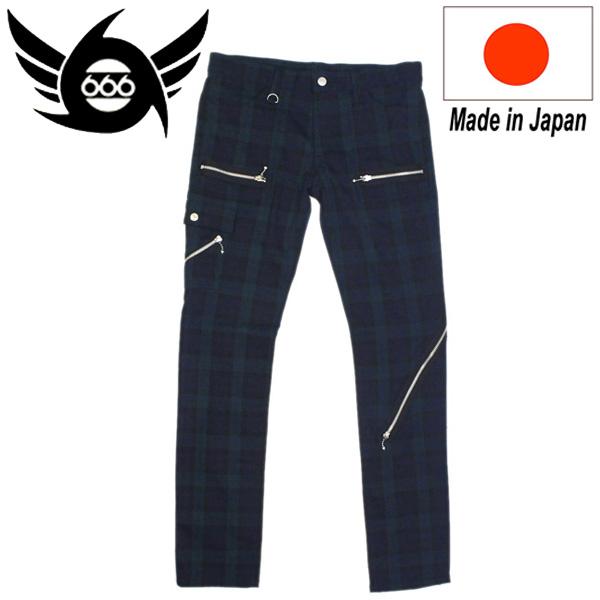 正規取扱店 666 ORIGINAL Army Zip Jeans (アーミージップジーンズ) ダークグリーンタータンチェック SOP0009