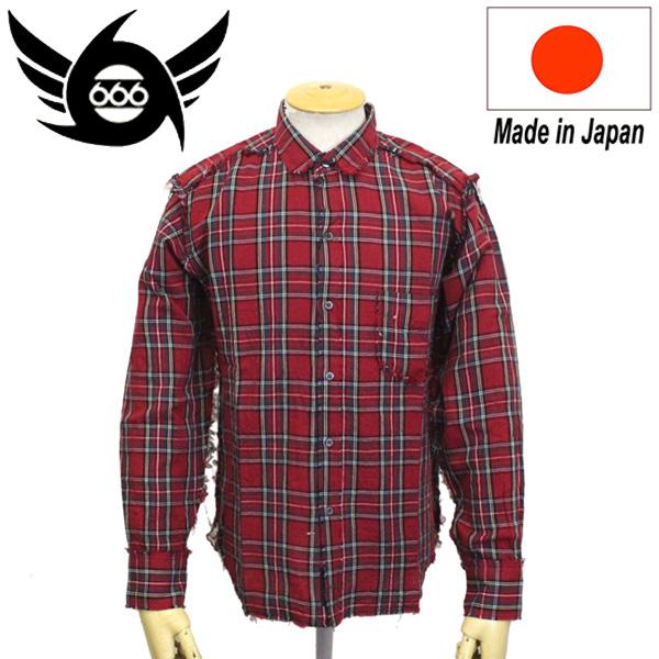 正規取扱店 666 ORIGINAL ガーゼラウンドカラーシャツ L/S 長袖 レッドタータン SOS0015