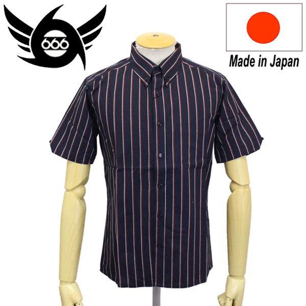 正規取扱店 666 ORIGINAL ボタンダウンシャツ 半袖 ブラック/レッド/ホワイトストライプ SOS0028