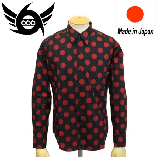 正規取扱店 666 ORIGINAL ドットシャツ L/S 長袖 ブラック/レッドドット(27mm) SOS0046