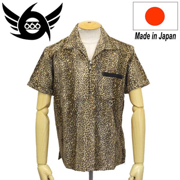 正規取扱店 666 ORIGINAL レパードスキンシャツ S/S 半袖 ベージュレパード SOS0051