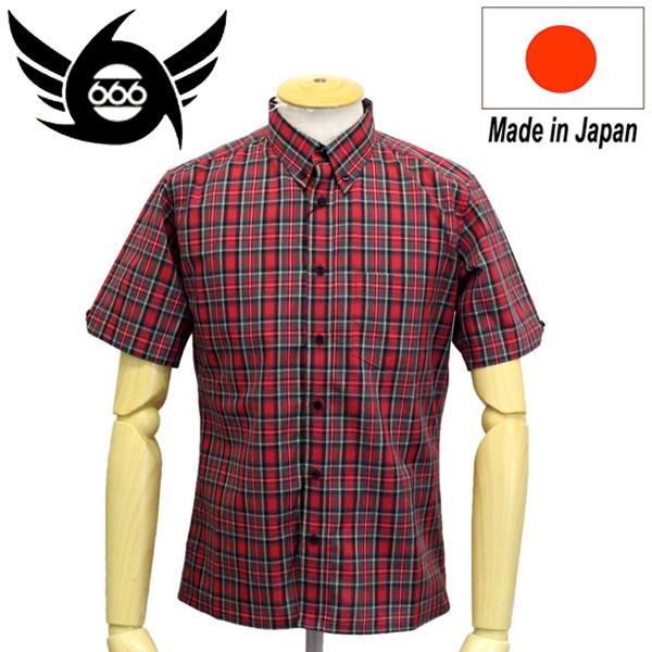 正規取扱店 666 ORIGINAL ボタンダウンシャツ S/S 半袖 レッドタータン SOS0054