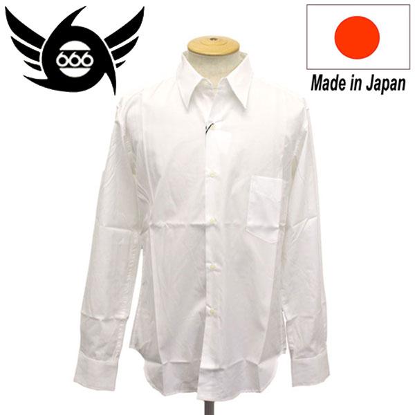 正規取扱店 666 ORIGINAL Regularcollar Shirts L/S (レギュラーカラーシャツ) 長袖 ホワイト SOS0001