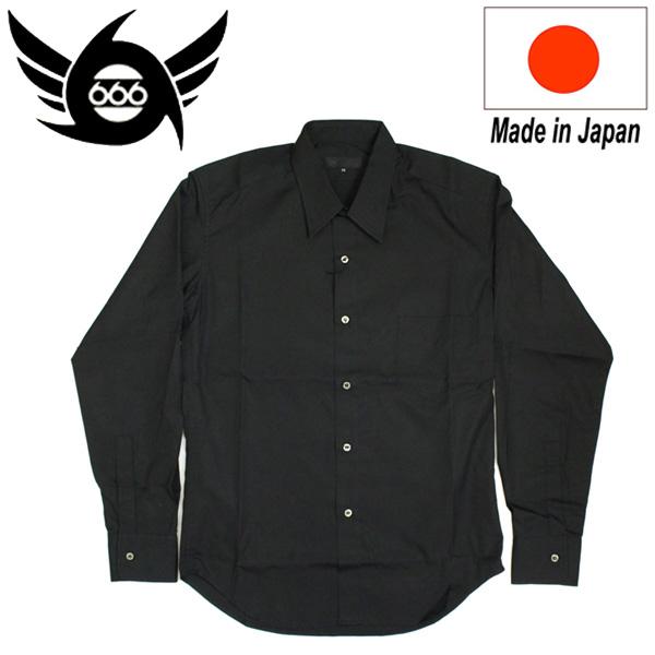 正規取扱店 666 ORIGINAL Regularcollar Shirts L/S (レギュラーカラーシャツ) 長袖 ブラック SOS0001