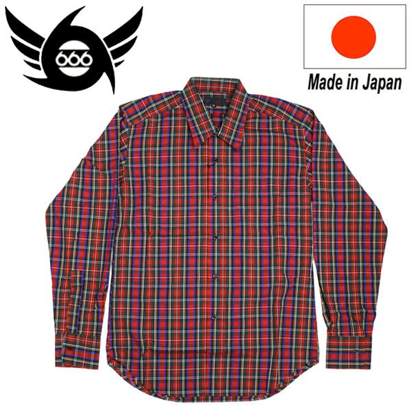 正規取扱店 666 ORIGINAL Regularcollar Shirts L/S (レギュラーカラーシャツ) 長袖 レッドタータンチェック SOS202