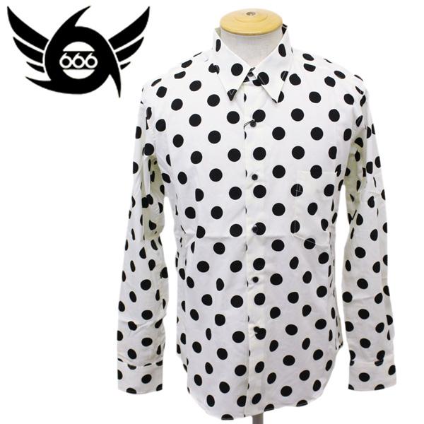 正規取扱店 666 ORIGINAL Dot Shirts L/S (オリジナル ドットシャツ ロングスリーブ) ホワイト/ブラックドット SOS0005
