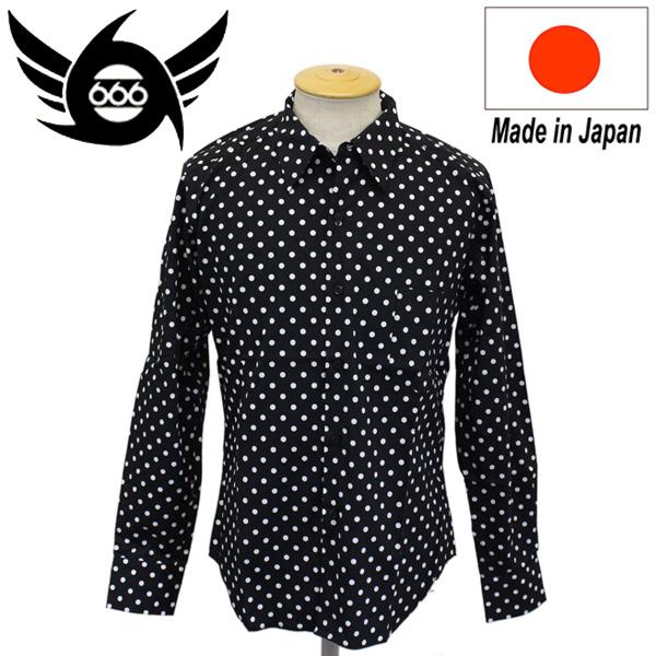 正規取扱店 666 ORIGINAL Dot Shirts L/S (ドットシャツ) 長袖 ブラック/ホワイトドット(6mm) SOS0006