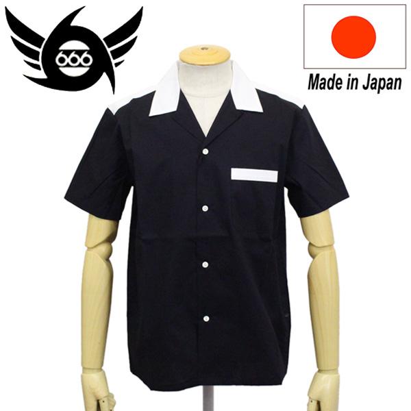 正規取扱店 666 ORIGINAL オープンカラーシャツ 半袖 ブラック/ホワイト SOS298