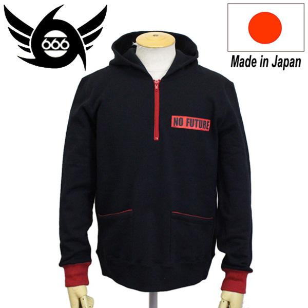 正規取扱店 666 ORIGINAL ハーフジップフーディー NO FUTURE ブラック/レッド SOZ0012