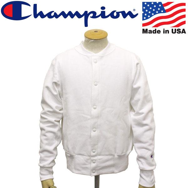 正規取扱店 Champion (チャンピオン) C5-E002 Reverse Weave SNAP SWEAT SHIRT リバースウィーブ スナップスウェット シャツ アメリカ製 010ホワイト CN036