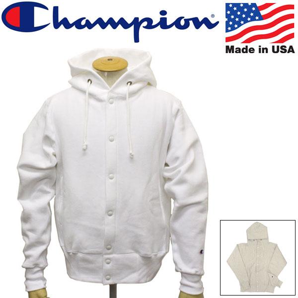 正規取扱店 Champion (チャンピオン) C5-E103 Reverse Weave SNAP HOODED SWEAT SHIRT リバースウィーブ スナップ フードスウェットシャツ アメリカ製 2色 CN037
