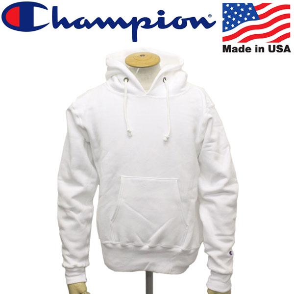 正規取扱店 Champion (チャンピオン) C5-U101 Reverse Weave PULLOVER HOODED SWEAT SHIRT リバースウィーブ プルオーバー フードスウェットシャツ アメリカ製 010ホワイト CN038