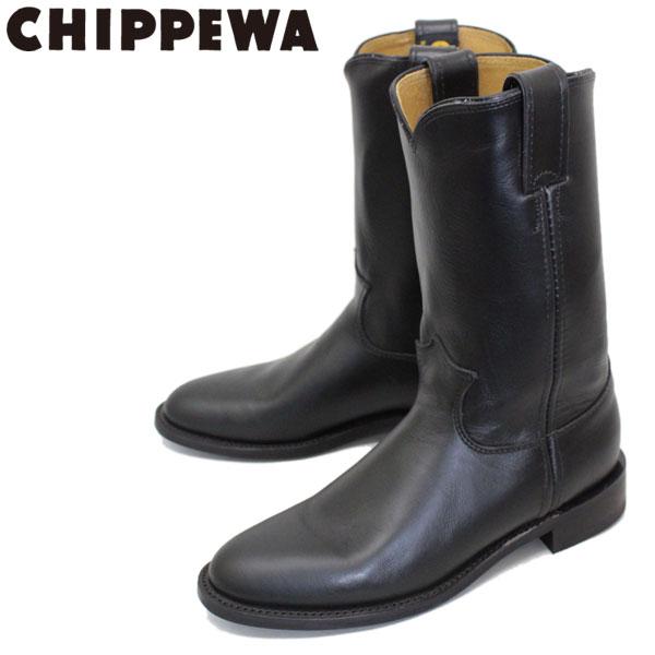 正規取扱店 CHIPPEWA (チペワ) 1901W67 Women's 10inch Roper(10インチローパー プレーントゥ・エンジニアブーツ) レディース Black