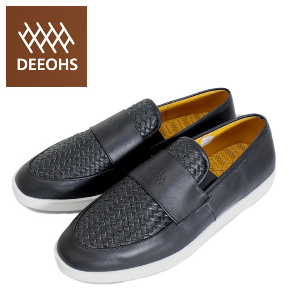 sale セール 正規取扱店 DEEOHS (ディオス) MD-1008T CAPONE (カポネ) 編み込み ローカット メンズ レザーシューズ black (ブラック) DE019