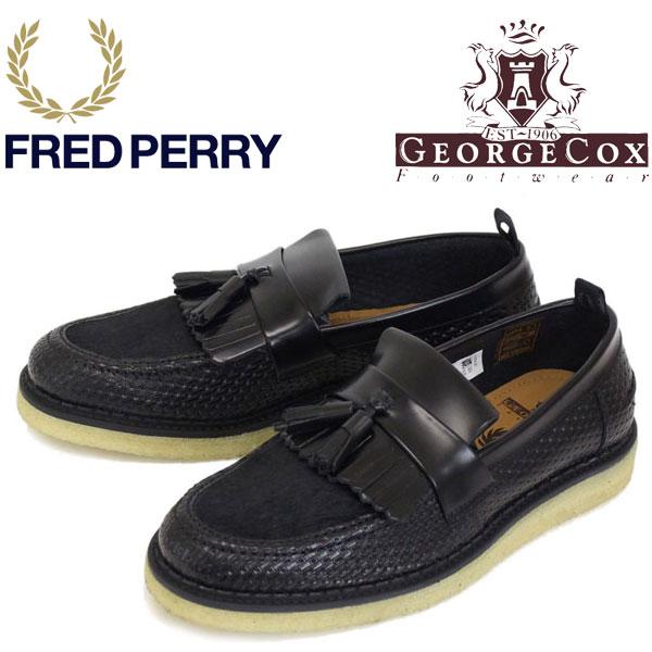 正規取扱店 FRED PERRY (フレッドペリー)XGEORGE COX (ジョージコックス) Wネーム B2272-102 TASSEL LOAFER RERF LEATHER タッセル レザーローファー 102-BLACK FP278