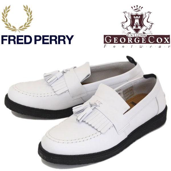 正規取扱店 FRED PERRY (フレッドペリー) x GEORGE COX (ジョージコックス) B3300-100 TASSEL LOAFER LEATHER タッセルローファー レザー 100-WHITE FP289