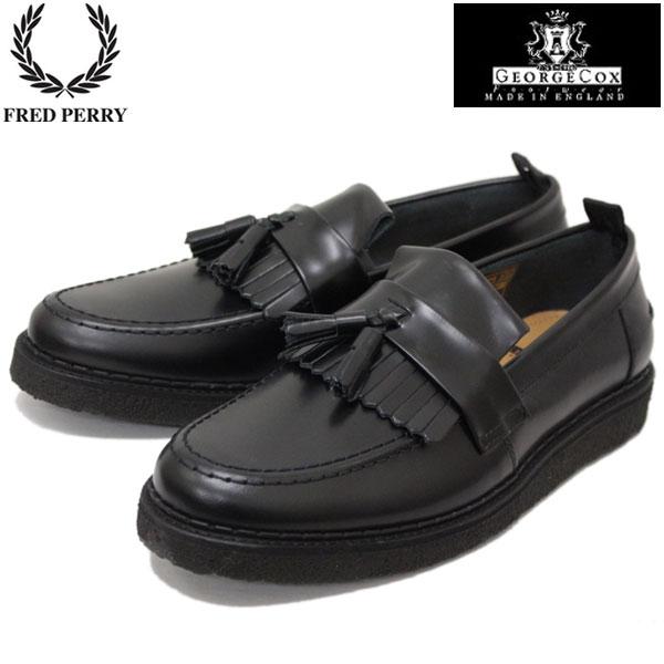 正規取扱店 FRED PERRY (フレッドペリー)xGEORGE COX (ジョージコックス) Wネーム B8278-102 TASSEL LOAFER LEATHER (タッセルローファー レザー) BLACK (ブラック) FP214
